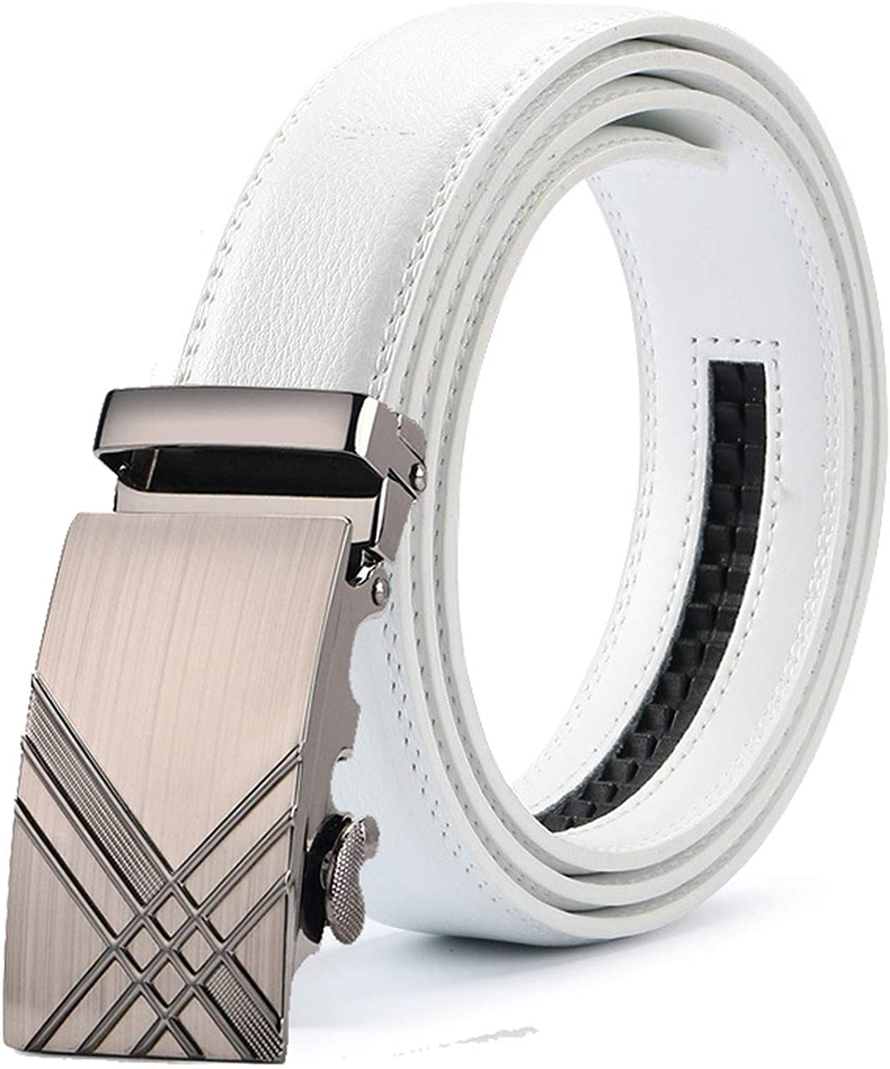 New Mens Fashion Automatic Buckle Leather Luxury Man cinturones hombre Black white Belt Alloy buckle White belt for Men,2,115cm