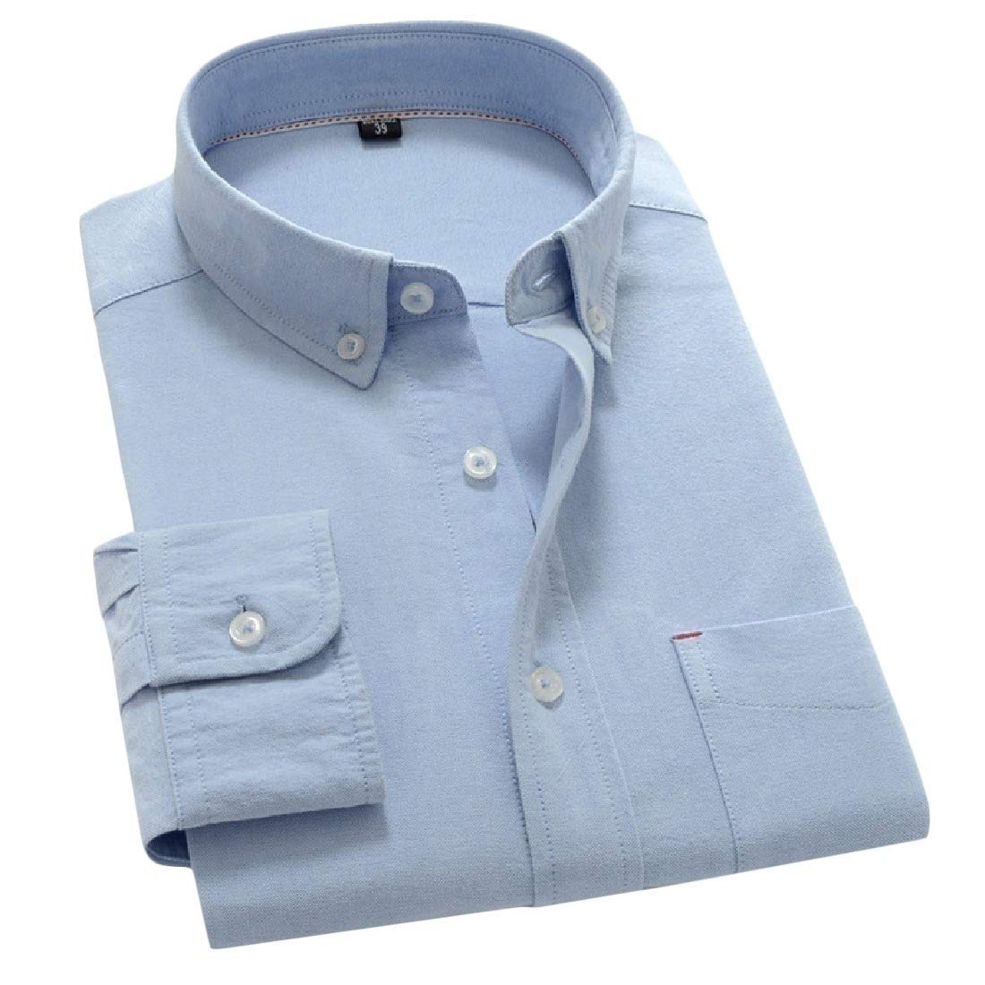 Mfasica Mens Oxford Oversize Pure Color Skinny Button Down Shirt