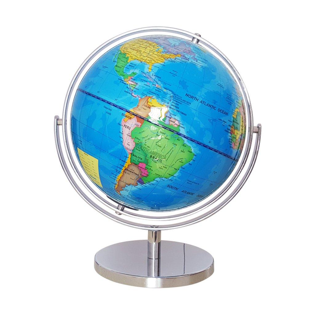 Baoblaze 25cm Drehbar 720° Globus Weltkugel mit deutlichem Englisch Kartenbild für Büro Schreibtisch Tischdekoration - Blau