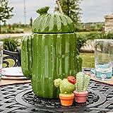 Creative Co-op DA6221 Stoneware Cactus Shaped Cookie Jar, Green