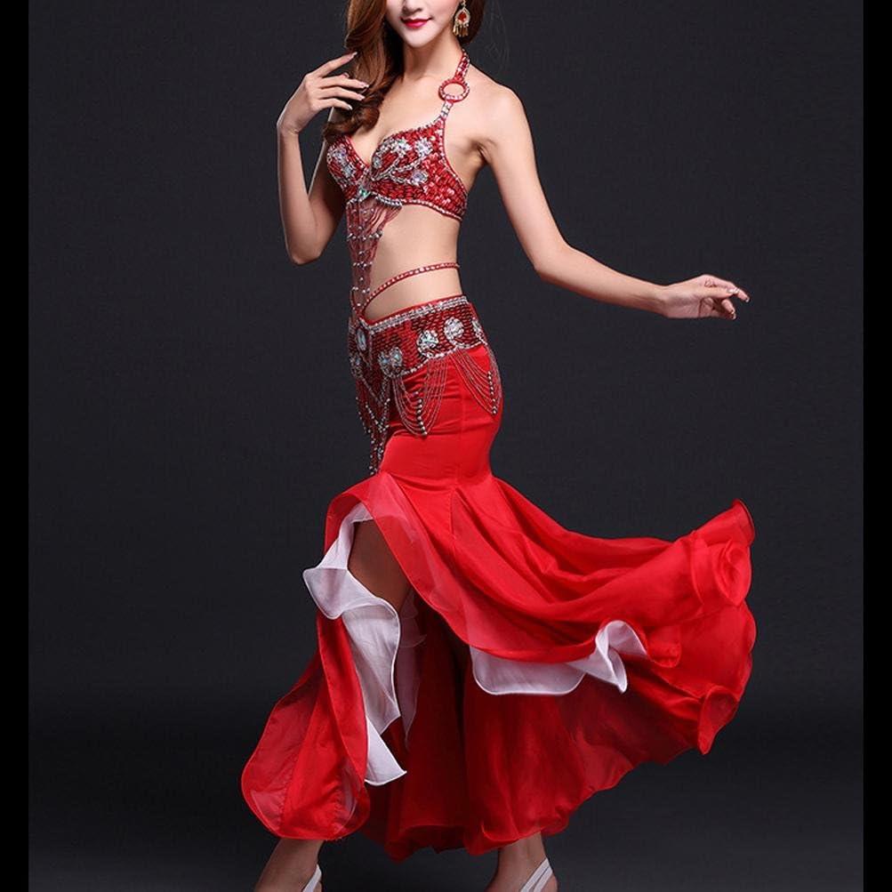 Glamour Red MoLiYanZi Falda de Danza del Ventre Actuaci/ón Gasa Cola de Pescado Vestido de Danza del Vientre Set con Shiny Edge Trajes de Baile s