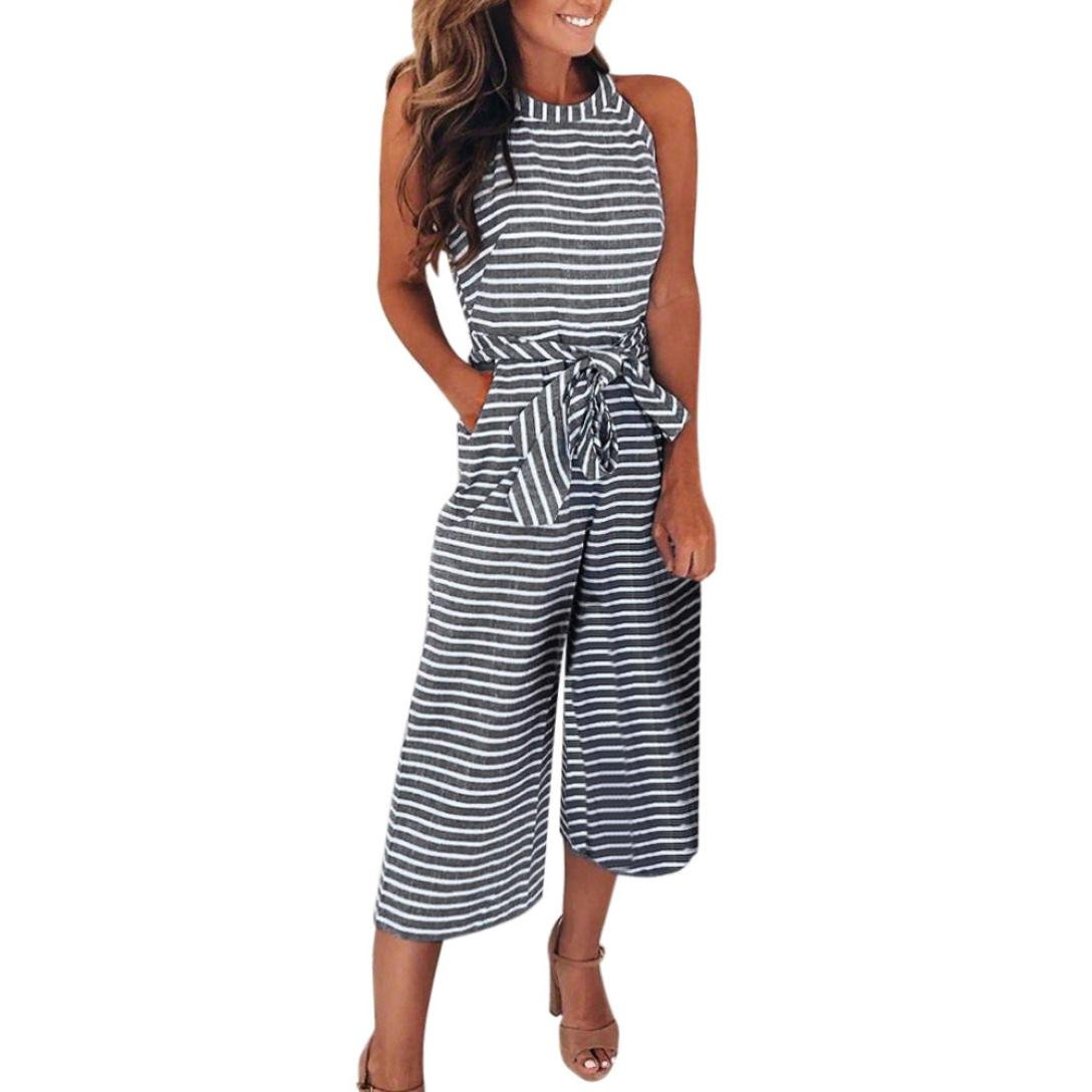 Kingfansion Women Linen Jumpsuit, Striped Waist Belted Wide Leg Capri Pants Jumpsuit