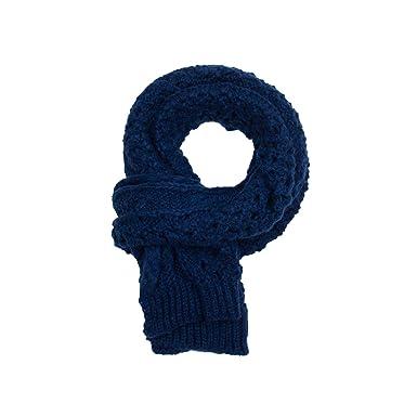Nostalgique Classique Echarpe Cache Col Tricoté Chaud Epais Fille Pour  Saison Froide (Bleu Foncé) 5dc101d5bc9