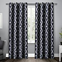 Exclusive Home Curtains Gates Sateen Blackout Thermal Grommet Top Window Curtain Panel Pair, Peacoat Blue, 52x84