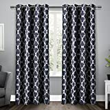 Exclusive Home Curtains Gates Sateen Blackout Thermal Grommet Top Window Curtain Panel Pair, Peacoat Blue, 52x96