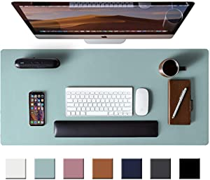 "Leather Desk Pad Protector,Mouse Pad,Office Desk Mat, Non-Slip PU Leather Desk Blotter,Laptop Desk Pad,Waterproof Desk Writing Pad for Office and Home (Light Blue,31.5"" x 15.7"")"