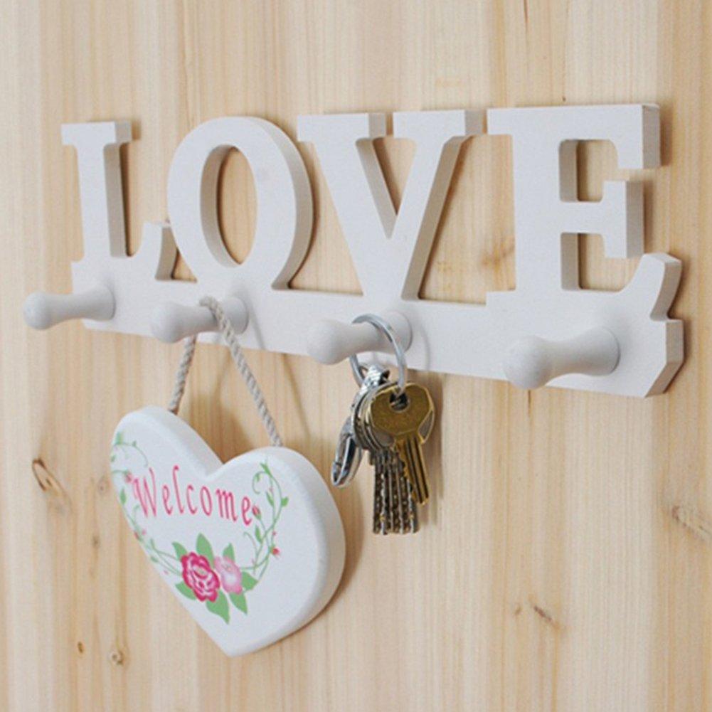 White Love Coat Hat Key Holder, 4 Hooks Clothes Bag Robe Mount Screw Wall Rack, For Home Bedroom Bathroom(white) MEIBY