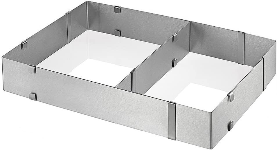 Contacto Edelstahl Tortenrahmen rechteckig verstellbar mit Abteilblech