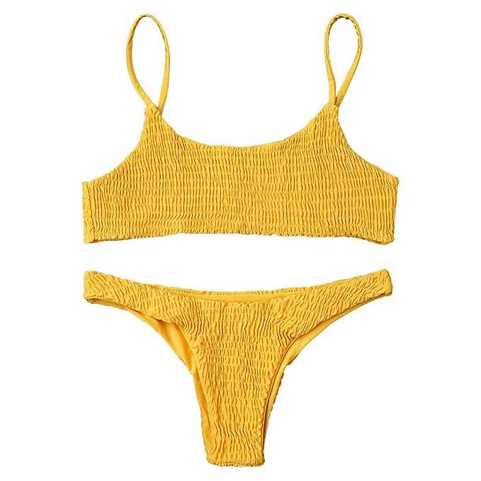 3b94fe0016037 DEZZAL Women s Spaghetti Strap Shirred Smocked Two Piece Bikini Set Swimsuit  (Yellow