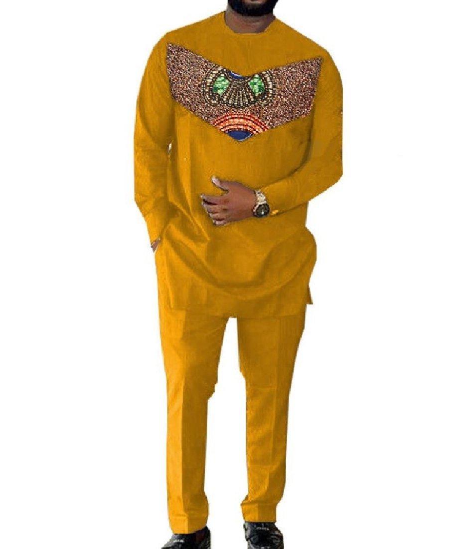 Doufine Men's Africa Long Pants Dashiki Basic Cotton Casual Cozy Tracksuit 3 2XL