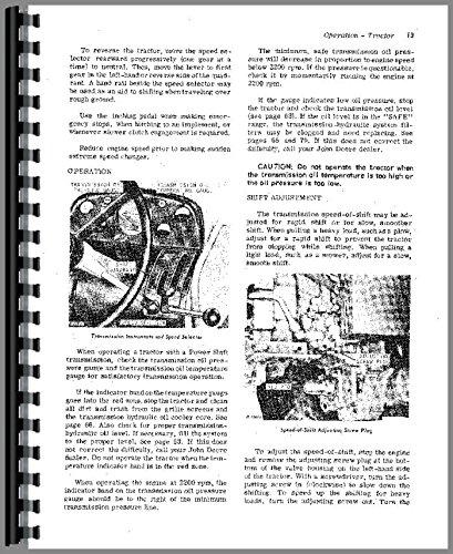 John Deere 3020 Tractor Owner Operators Manual s/n 68,000 up Gas & Diesel PDF