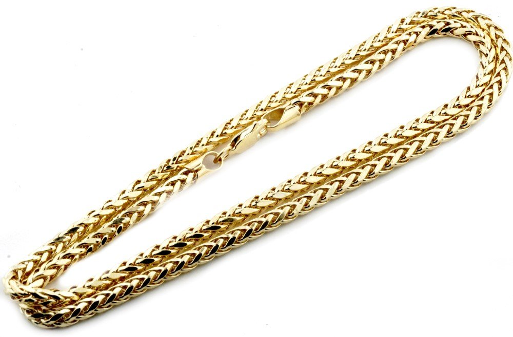 Midwest Jewellery 10K Gold Wheat Chain Palm Chain Necklace Womens or Mens Real Gold 3.5mm (26) by Midwest Jewellery (Image #2)