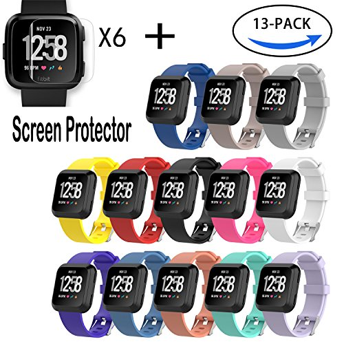 I-SMILE Fitbit Versa Bands, Classic Edition Replacement Bracelet Sport Wristband with Buckle Accessories Strap for Fitbit Versa Fitness Smart Watch, 13 Colors, Large, Small