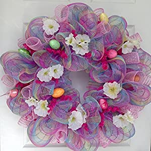 Pink Pastel Plaid Easter Egg Deco Mesh Wreath 18