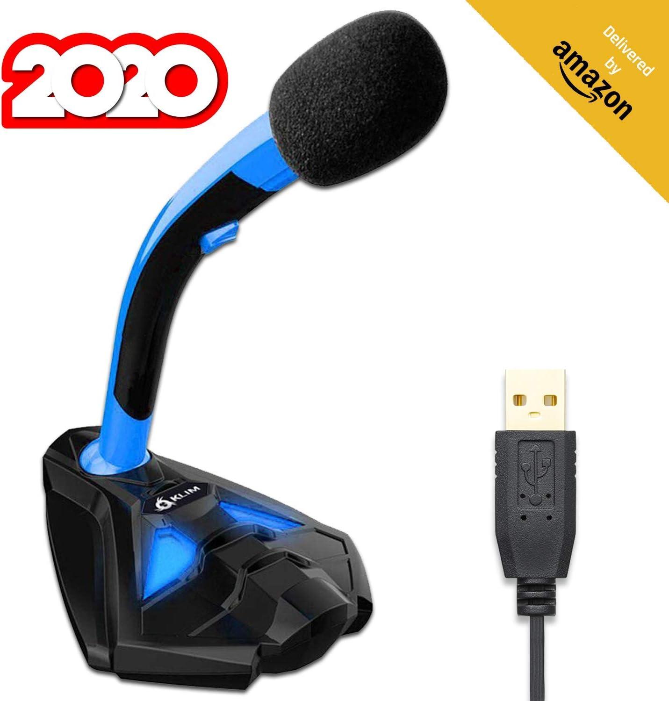 KLIM™ Voice Micrófono USB con Base para Ordenador - Micro de Escritorio, Micrófono para Jugadores - Azul y Negro -Nueva Versión 2020