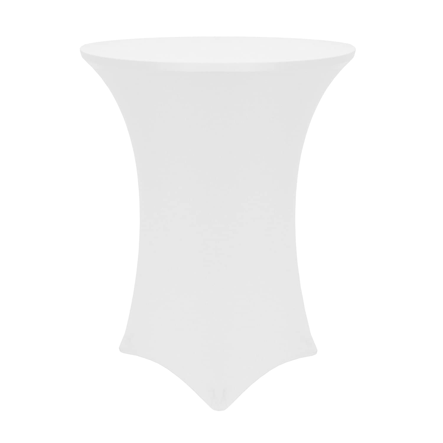 """Ultimate Textile -2 Pack- 30-36-Inch Round Cocktail Spandex Fitted Stretch Elastic Tablecloth - Fits 42"""" High Tables, White"""