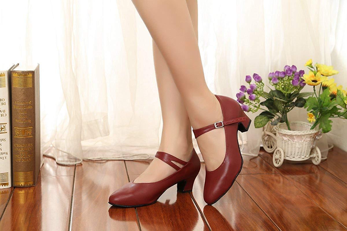 Qiusa GL245 Damen Mary Jane Style Style Style Leder Niedriger Absatz Latin Social Prom Dance Pumps (Farbe   Burgundy-5cm Heel Größe   4 UK) f90d5f