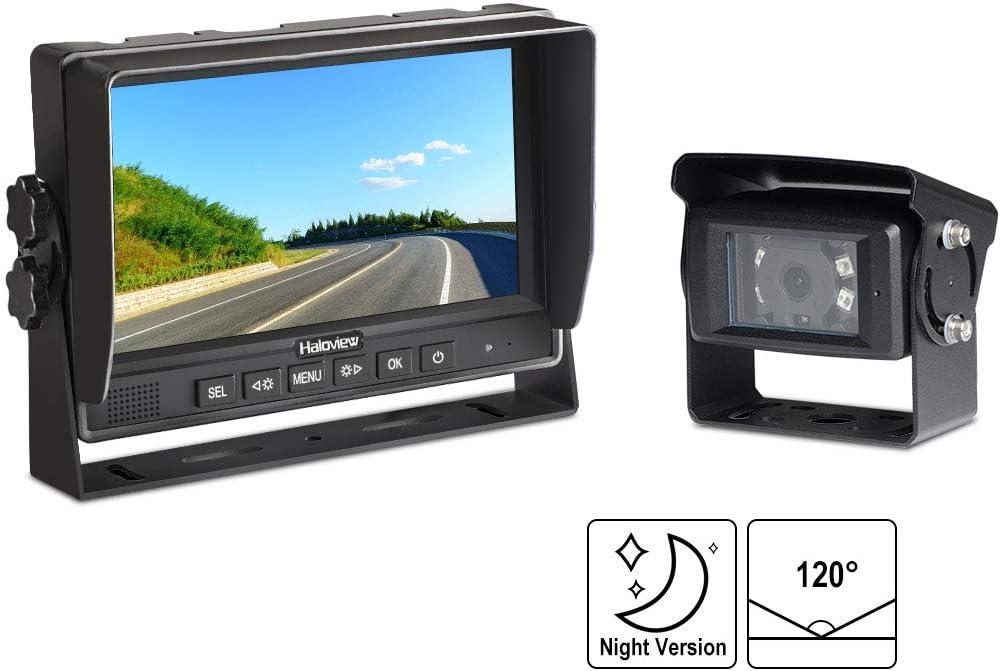 Haloview MC7601 Backup Camera System Kit 7 LCD Reversing Monitor and IP69K Waterproof Rear View Camera for Truck Trailer Bus RV Pickups Camper Van Farm Machine Car MC7601