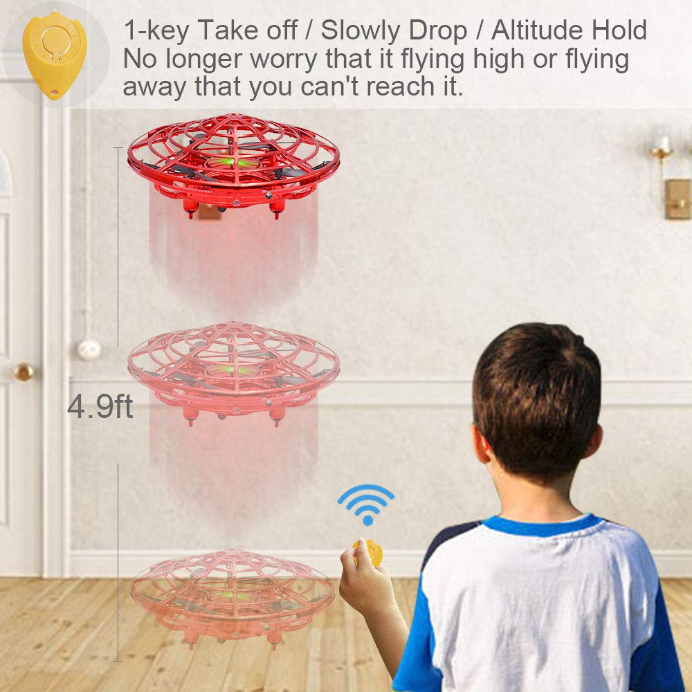 CPSYUB Hand Operated Drones for Kids or Adults, Toys for 4-5 Year Old Boys, Hands Free Kids Drone Toys for 3, 4, 5, 6, 7, 8, 9 Year Old Boys and Girls, Flying Ball Drone for Kids Toys Gift (Red) by CPSYUB (Image #3)