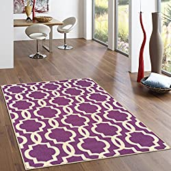 "Kapaqua Rubber Backed 5' x 6'7"" Fancy Moroccan Trellis Purple & Ivory Area Non-Slip Rug - Rana Collection Kitchen Dining Living Hallway Bathroom Pet Entry Rugs RAN204PRL-57"