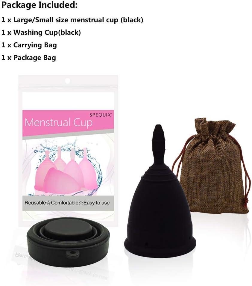 SPEQUIX 1 taza menstrual con 1 taza de lavado esterilizante para el período de higiene femenina, taza de tampón y almohadilla alternativa (pequeño)