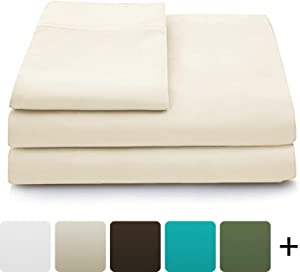 Cosy House Collection Luxury Bamboo Sheets - 5 Piece Bedding Set - High Blend from Natural Bamboo Fiber - Soft Wrinkle Free Fabric - 2 Fitted Sheets, 1 Flat, 2 Pillow Cases - Split King, Cream