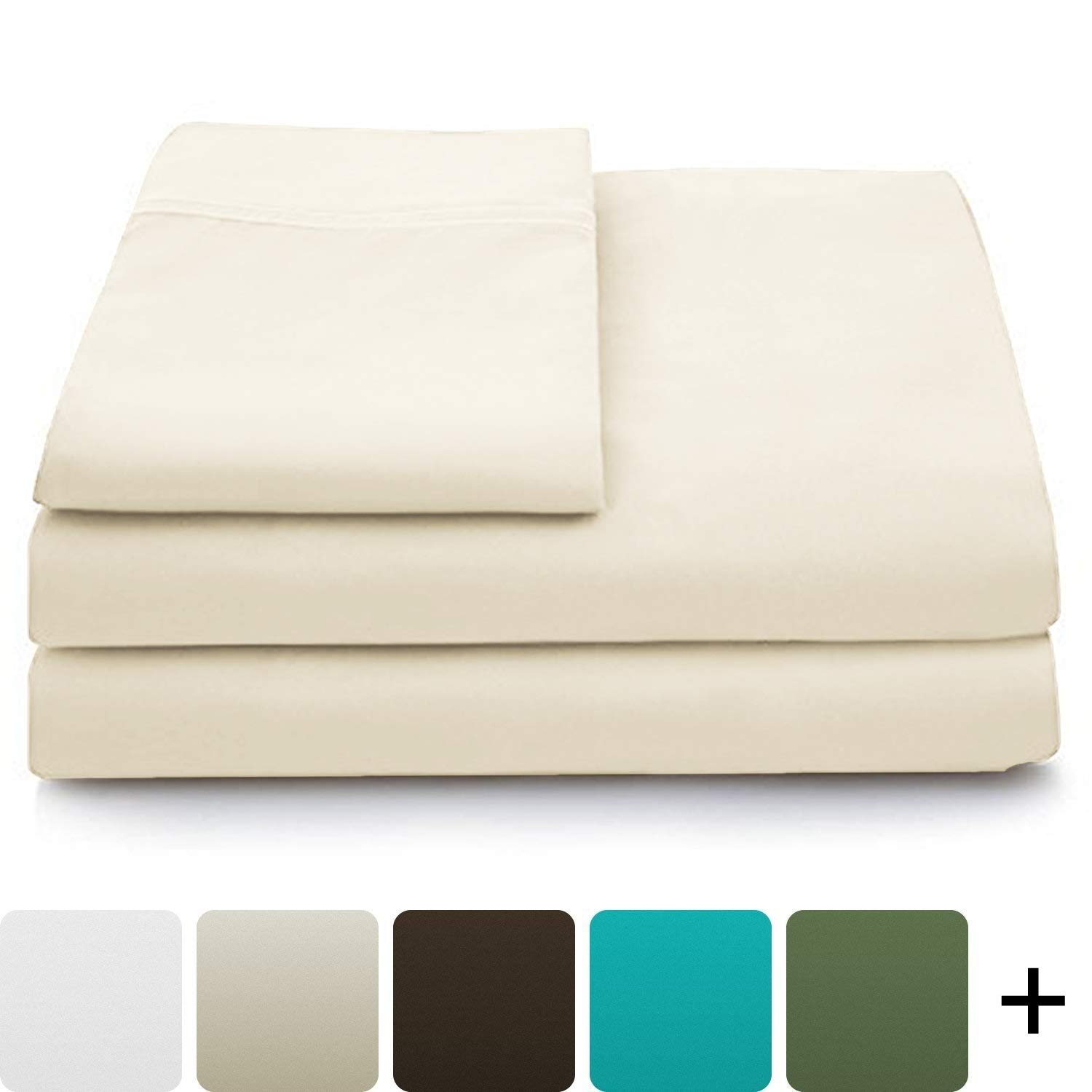 Cosy House Collection Luxury Bamboo Bed Sheet Set - Hypoallergenic Bedding Blend from Natural Bamboo Fiber - Resists Wrinkles - 4 Piece - 1 Fitted Sheet, 1 Flat, 2 Pillowcases - Cal King, Cream