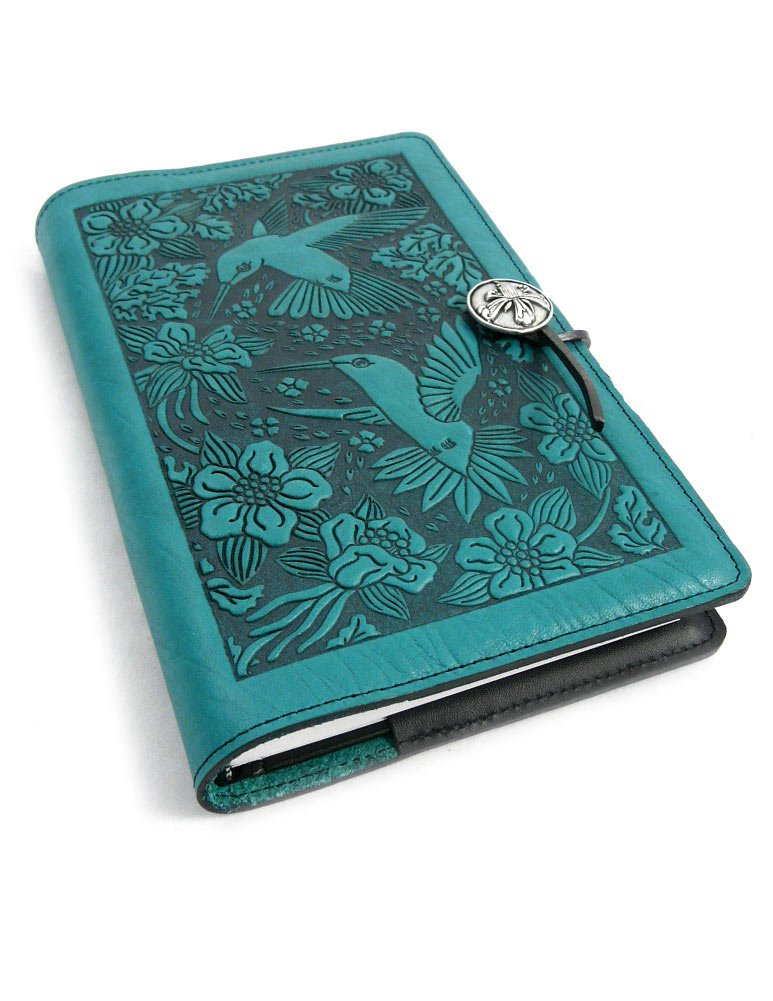 Hummingbird American-Made Embossed Leather Writing Journal Cover in Teal, 6 x 9-inch + Refillable Hardbound Insert Book by Modern Artisans
