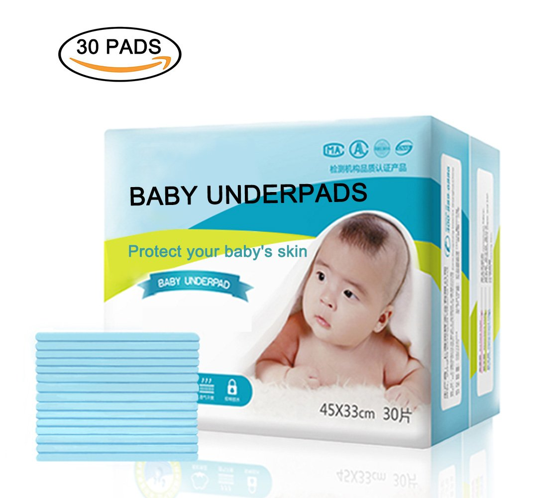 Baby Disposable Changing Pads, 30 Count High Absorbency Chucks Pads, Disposable Portable Diaper Changing Table & Mat, Soft and Waterproof Bed Pad. (13x18IN)