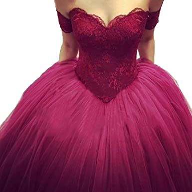 Tsbridal Burgundy Lace Prom Dresses Sweetheart Ball Gown Evening Party GownsXC254-Burgundy2