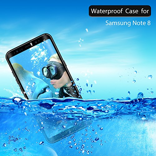 Samsung Galaxy Note 8 Waterproof Case, Shockproof Dustproof Snowproof Full-body Underwater Protective Box Rugged Cover with Kickstand and Built in Screen Protector for Galaxy Note8