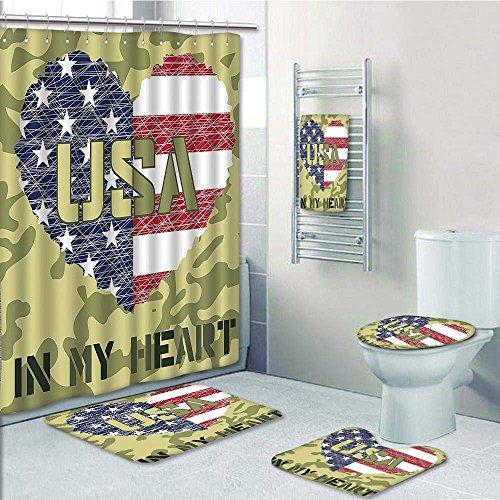 Nalahome Designer Bath Polyester 5 Piece Bathroom SetNational Heart Shaped Military And Style
