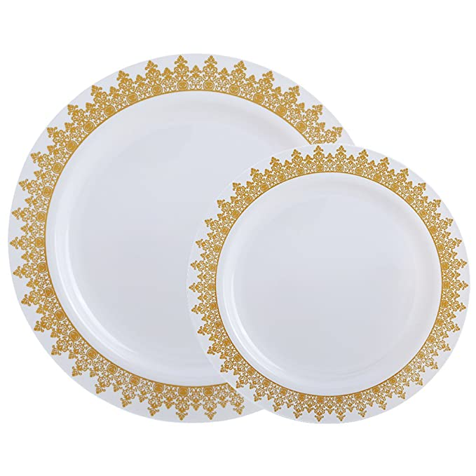 60PCS Heavyweight White with Gold Rim Wedding Party Plastic Plates,Dinnerware Sets.30-10.25inch Dinner Plates and 30-7.5inch Salad Plates -WDF (White/Gold Forest)