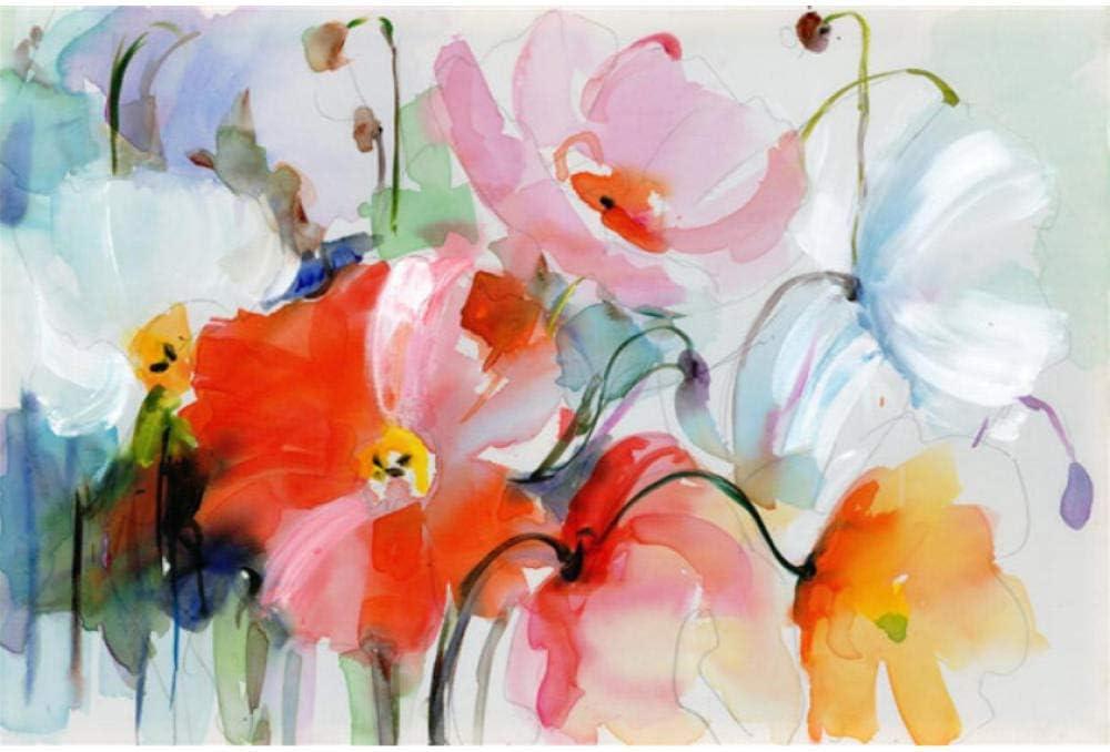 Pintura Al Óleo Acuarela Abstracta Flor De Amapola Carteles E Impresiones Estilo Nórdico Moderno Cuadro De Pared Para Sala De Estar Cocina Decoración-40cmx50cm