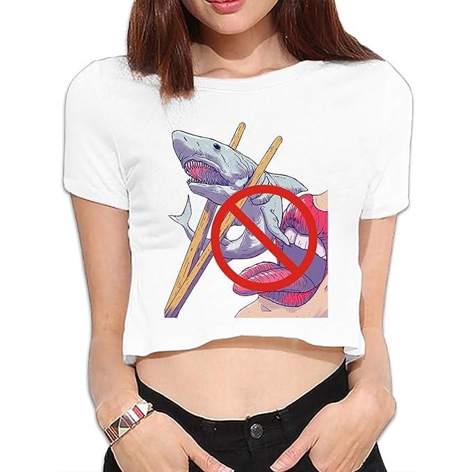 9a3887fecb13c4 Amazon.com: Women Crop Top Midriff Round Neck No Hunt Eat Shark Short  Sleeves T Shirt: Clothing