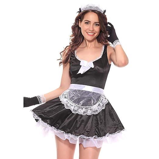 Amazon.com: Yiwa Women Sexy Maid Dress Nightwear Suit Gauze ...