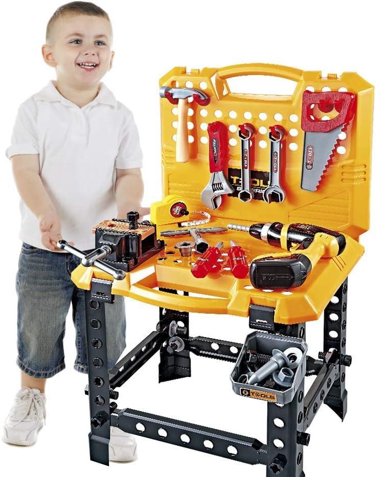Werkzeuge Kinder Toy Bench Construction Set mit Werkzeugen und Spielzeugbohrer 82 St/ück Kleinkinder Toy Shop Werkzeuge f/ür Jungen Toy Workbench Werkzeugkasten f/ür Kinder