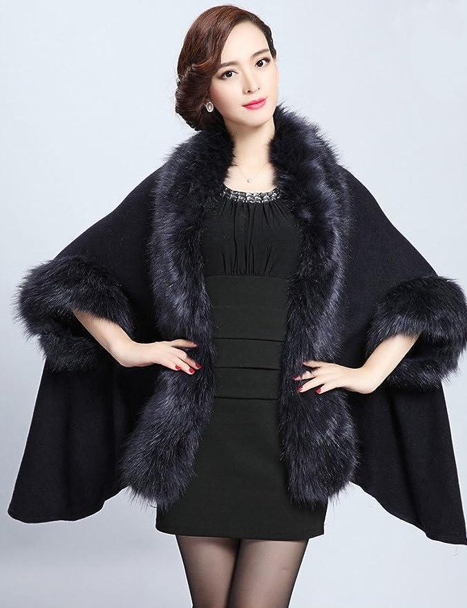 2e075c7af7d1c Aphratti Women s Winter Shawl Cloak Cape Coat with Warm Faux Fur One Size  Black at Amazon Women s Coats Shop