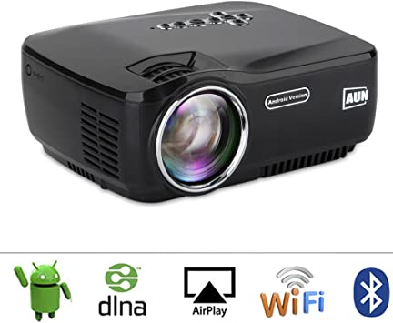AUN Android Proyector con WiFi Bluetooth LED Proyector Para cine ...