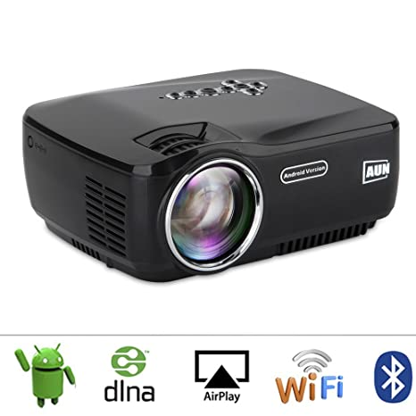 AUN Android Proyector con WiFi Bluetooth LED Proyector Para cine en casa Miracast Airplay EZCast Portable