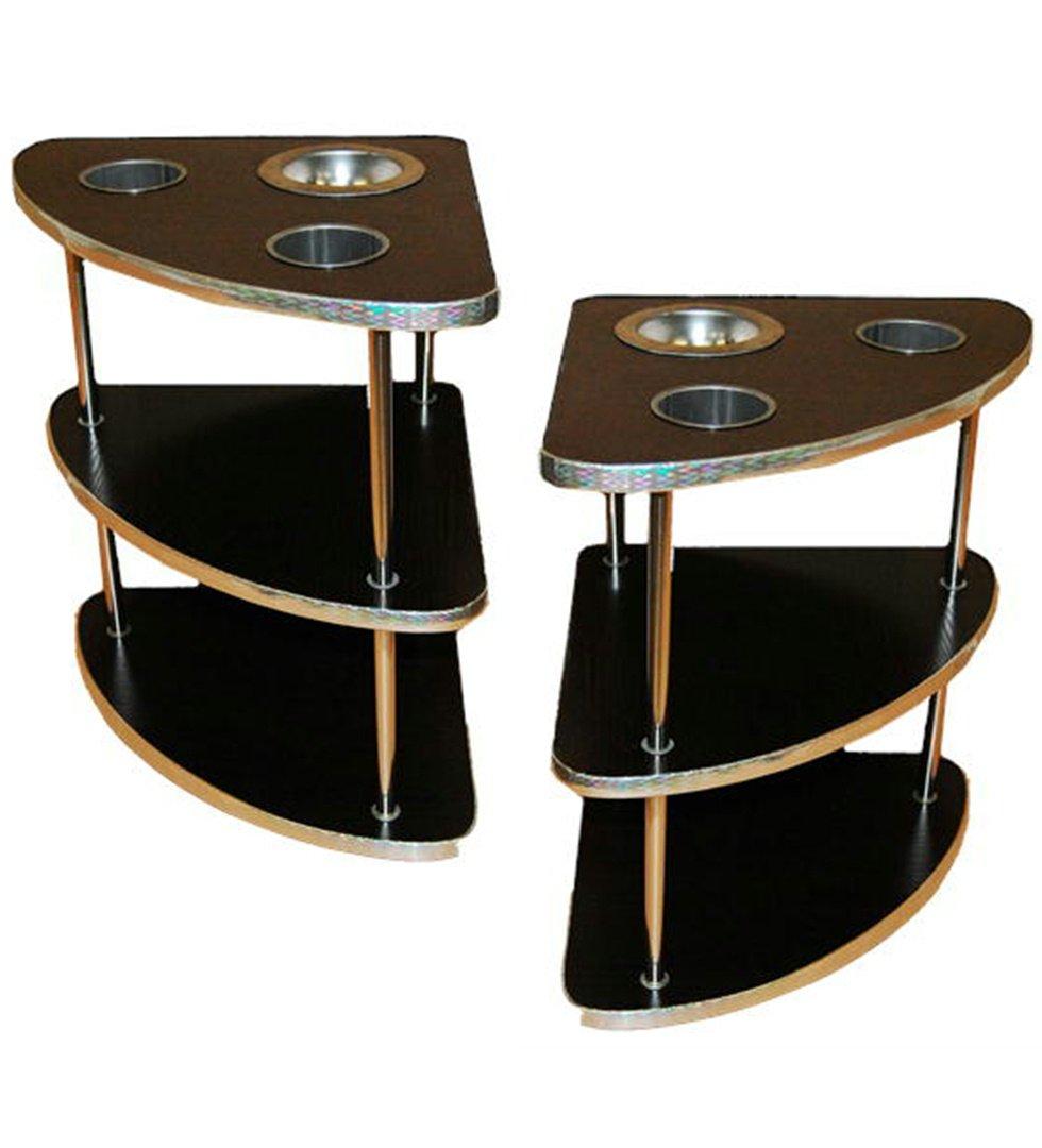 麻雀卓用 サイドテーブル 2台セット 全自動麻雀卓に最適 サイドテーブル 2脚セット 灰皿ドリンクホルダー付き B07DHS74KW