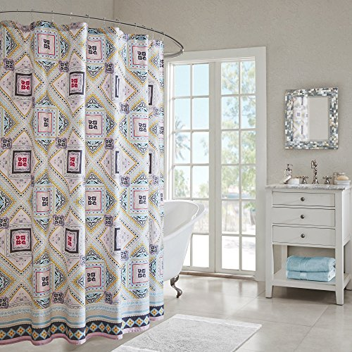 Echo Design Ibiza Multi Cotton Printed Shower Curtain (Echo Shower Curtain)