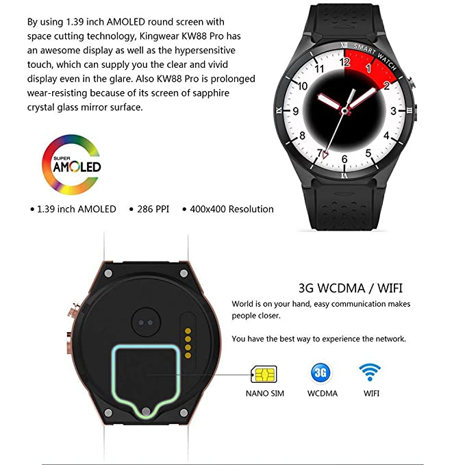 Relojes inteligentes - KW88 Smartwatches Pro 3G Reloj inteligente Android 7.0 1.3Ghz Quad-Core 16GB WIFI GPS 2MP Cámara Monitor de ritmo cardíaco 3G Reloj ...