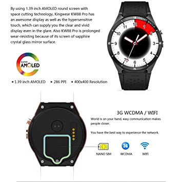 Gereton KINGWEAR Sports Smart Watch, 3G Smart Watch, Android 7.0 1.3Ghz Quad-Core 16GB WiFi GPS 2MP Cámara Monitor de frecuencia cardíaca 3G Smart ...