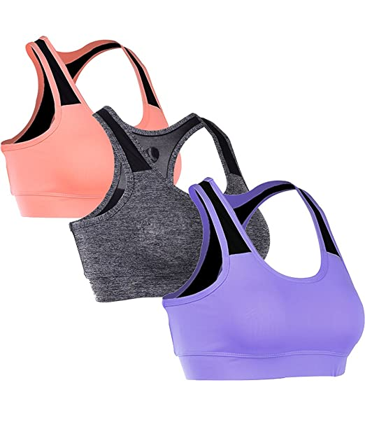 EUFANCE Mujeres Pack de 3 Racerback sesión de Ejercicios de Yoga Sujetador de los Deportes Activo Tanque de Cultivo Superior
