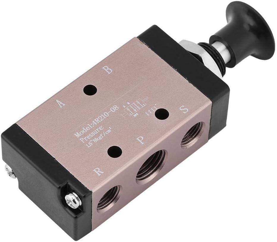 1pcs 4R210-08 Manual Pneumatic Air Value Hand Push Pull Control Solenoid 3-way 2-position 1//4 BSPT Thread