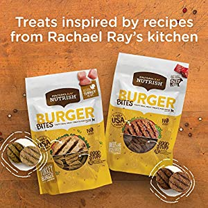Rachael Ray Nutrish Burger Bites Real Meat Dog Treats, Grain Free Beef with Bison Burger Recipe, 12 Ounce