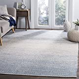 Safavieh Montauk Collection MTK601B Handmade Flatweave Blue and Ivory Cotton Area Rug (6' x 9')