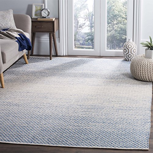- Safavieh Montauk Collection MTK601B Handmade Flatweave Blue and Ivory Cotton Area Rug (6' x 9')
