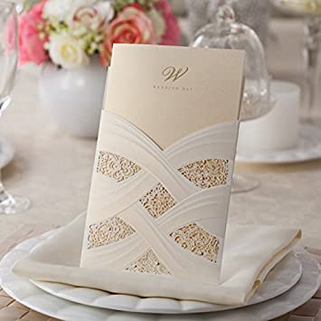 Amazon doris hom vertical laser cut wedding invitation cards doris hom vertical laser cut wedding invitation cards kit with white hollow flora 50pcscw060 stopboris Image collections